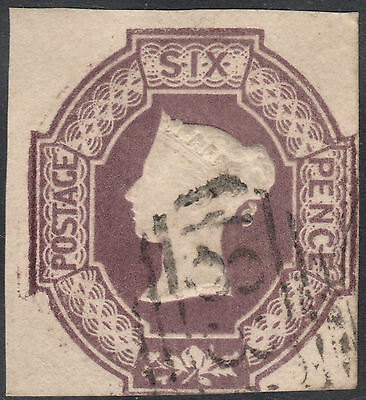1854 SG59 6d DULL LILAC EMBOSSED CUT SQUARE FINE 3 MARGINS WATERMARK VR UPRIGHT