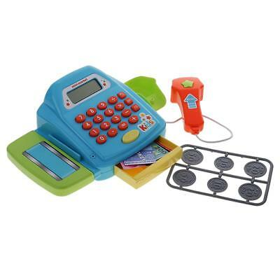 Plastic Electronic Cash Register Set Kid Baby Hand Eye Coordination Toy Blue