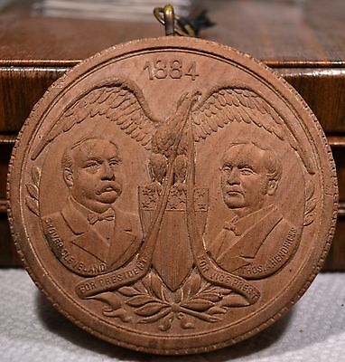 Grover Cleveland 1884 Campaign Jugate 76mm Wood token medal GC-1884-1