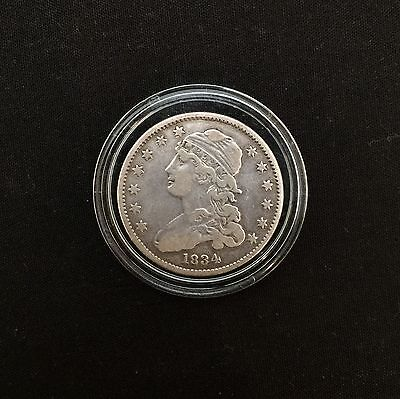 Vintage 1834 Quarter 25c Capped Bust Silver Coin
