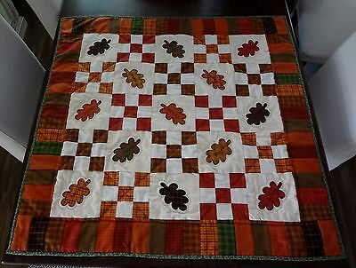 """Beautiful Homespun Autumn Leaves"" ~ Hand Applique ~ Hand Quilt ~ Primitive"