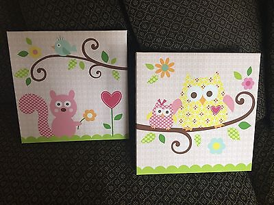EUC Kidsline Wall Canvas Art Hanging Girls Happi Owl Tree Squirrel by Dena 2 Pc