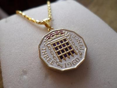 Vintage Hand Painted Threepence Coin 1960 Pendant & Necklace. Birthday Present.