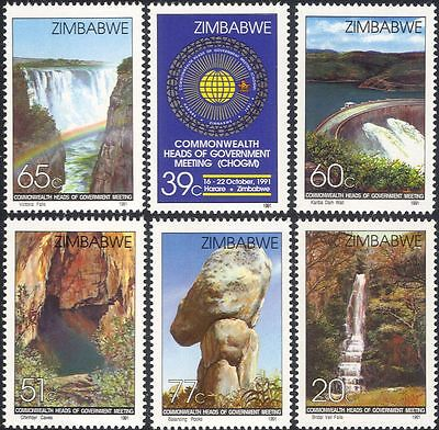 Zimbabwe 1991 Victoria Falls/Waterfalls/Caves/Nature/Dam/Rainbow 6v set (n29957)