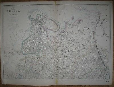 1860 Large Antique Map - RUSSIA IN EUROPE - J.W. Lowry - Weekly Dispatch Atlas