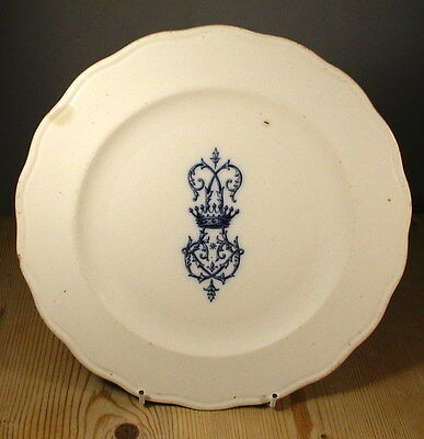 Cauldon Plate with Blue Crest & French Retailer E. Bourgeois