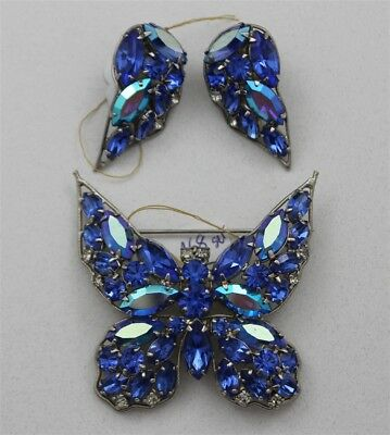 Vintage LA ROCO Tanzanite Blue Butterfly Brooch & Earrings Rhinestones Designer