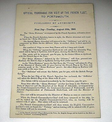 1865 PORTSMOUTH Original PROGRAMME For VISIT OF THE FRENCH FLEET