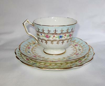 1 Of 10 Aynsley China Crocus Shaped Trio Gilded Duck Egg Blue & Flower Swags