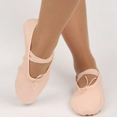 Adult Child Girl Gymnastics Ballet Dance Shoes Canvas Slippers Pointe Dance Pink