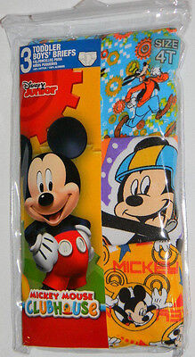 New Disney Junior Mickey Mouse Goofy Clubhouse Toddler Boys Briefs Underwear 4T