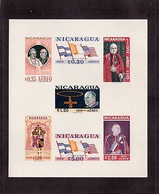 NICARAGUA 1959 SOUVENIR SHEET #C436a IMPERFORATE MINT NEVER HINGED !!