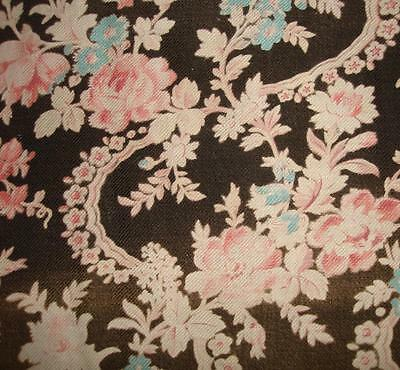 BEAUTIFUL FADED 19th CENTURY FRENCH FLORAL COTTON, ROSES, REF PROJECTS