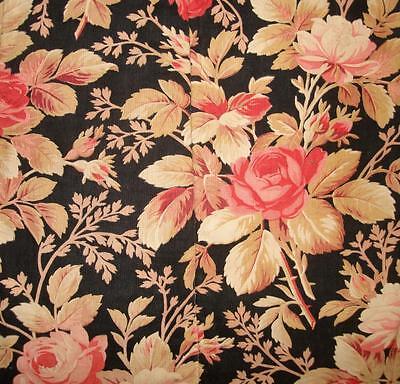 BEAUTIFUL 19th CENTURY FRENCH QUILTED LINEN & COTTON, ROSES ROSEBUDS