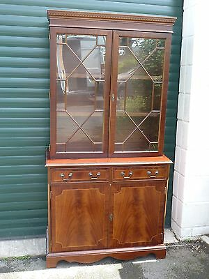 Antique Style Regency Glazed Bookcase Display Cabinet Lockable Flame Mahogany