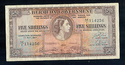 Scarce Bermuda Government Legal Tender 5 Shillings VF/XF Note 1957 - P370