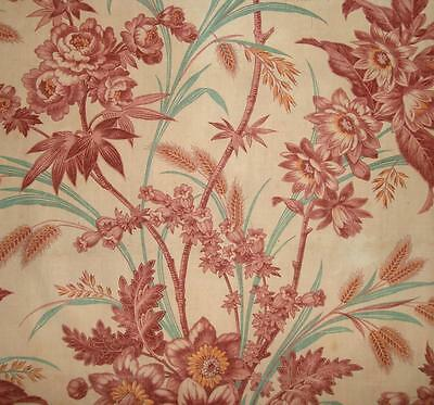 BEAUTIFUL 19th CENTURY FRENCH BLOCK PRINT LINEN & COTTON, ROSES DAFFODILS