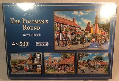 """Lovely """"The Postman's Round"""" 4x500 Piece Jigsaw Puzzle By Gibsons *New & Sealed*"""