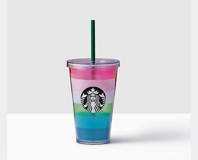 2017 Starbucks Colorful Stripes Acrylic Cold Cup 16 Fl Oz *NEW* Limited Edition