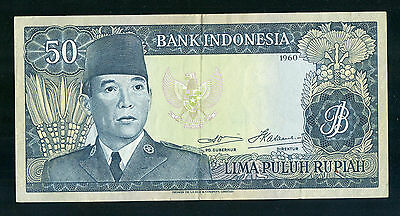 Bank of Indonesia 1960 50 Rupiah Note, Nice AU, Cat. # 85a - P372