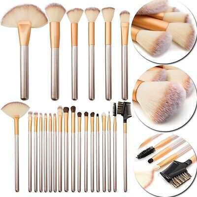 US Pro 24 Pcs Makeup Brushes Cosmetic Tool Kit Eyeshadow Face Cream Brush Set