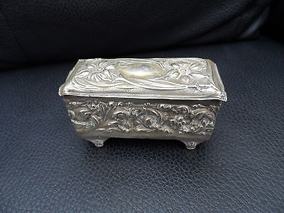 Stunning small repousse Victorian silver plate box decorative