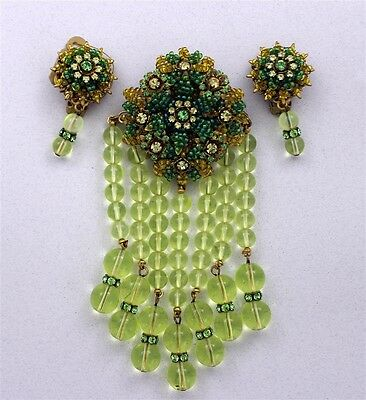 Vintage STANLEY HAGLER NYC Hand Beaded Lime Glass DANGLE Brooch & Earrings WOW