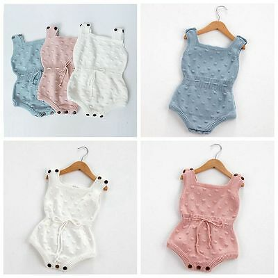 Baby Girls Knitted Bodysuit Toddler Strap Jumpsuit Rompers Outfits Clothes