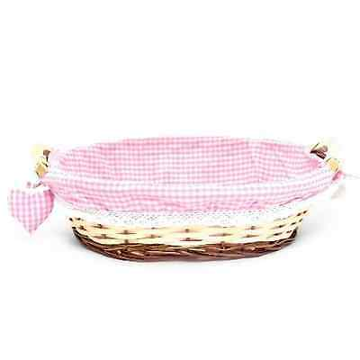 Cloth Lined Hamper Basket - Perfect for a Baby Girl Birth Gift - NEW