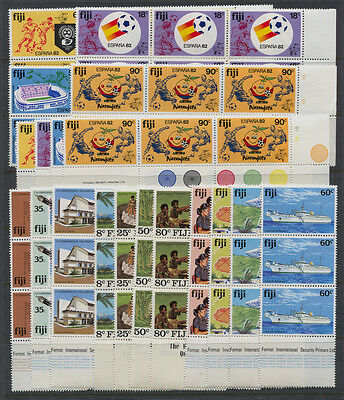 Fiji Mostly 1980's MNH Sets in Blocks of 4 & 6 and Strips of 3 CV $161.60+