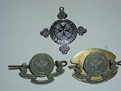 Job Lot Of Three Vintage St. John's Ambulance Association Cap Badges, Medals!