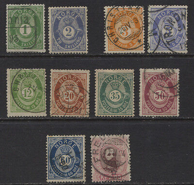 Norway 1872 - 1878 MH / Used Posthorn Issues CV $238