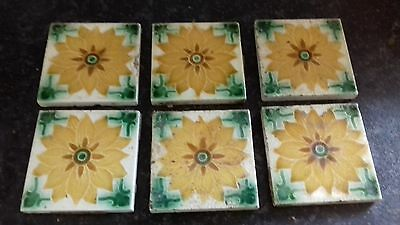"6X Antique Late19Thc/early 20Thc 3"" Majolica Sunflower Tiles From France"