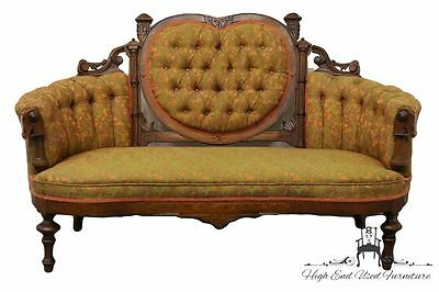 Antique Victorian Walnut Tufted Heart Back 62″ Sofa