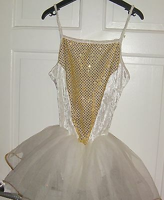 Girl's Off White & Gold Tutu Leotard age 12-13 years