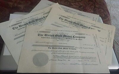 """Six """"The United Gold Mines Co."""" Shares of Capital Stock Collector Items"""