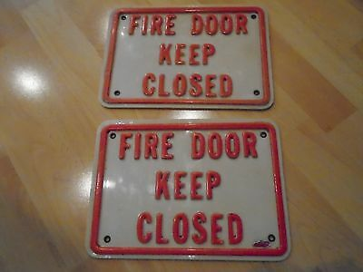 "Lot of 2 Vintage ""Fire Door Keep Closed"" Heavy Plastic Signs with Brass Grommets"