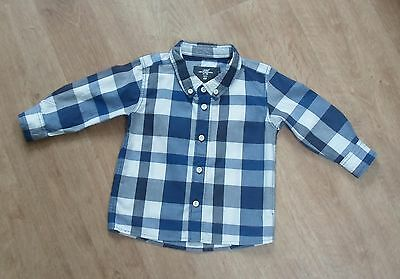 H&M Baby Boys Blue Checked Long Sleeve Shirt 6-9 months