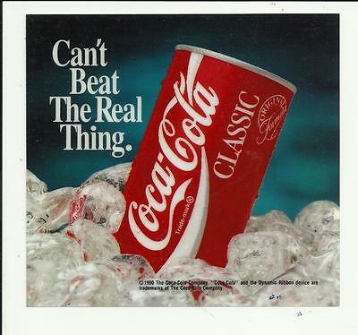 "Vintage Coca Cola Classic ""Can't Beat the Real Thing"" POS Window Royal~Dixie~etc"