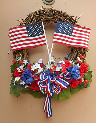 """17"""" July 4th Flag Red White Blue Floral Door Grapevine Wreath"""