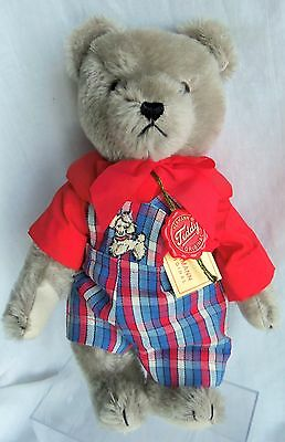 "Cute Hermann GRAY BEAR 12"" Mohair, dressed in overalls"