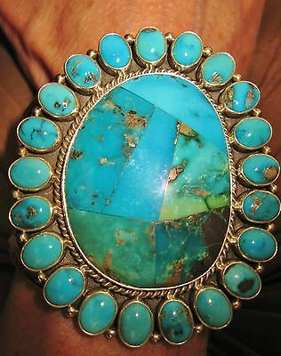 NAVAJO EXQUISITE TURQUOISE MOSAIC, CLUSTER CUFF,M.J GARCIA,84 gr Sterling Silver