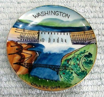 """Washington State Coulee Dam Old Miniature 4"""" Hand Painted Souvenir Plate FREE SH"""
