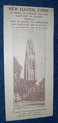 New Haven Connecticut Brochure College Highway Map Yale University HarknessTower