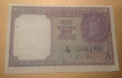 Old Banknote India Indian 1 rupee 1963