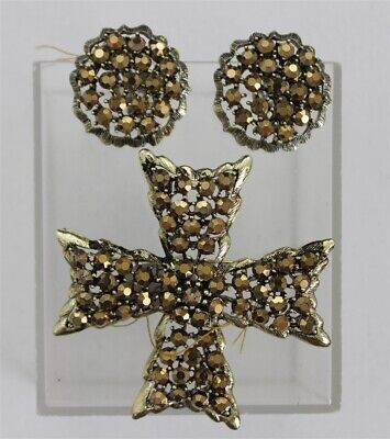 Vintage WEISS Gold Aurora Topaz MALTESE CROSS Brooch & Earrings Rhinestones Set
