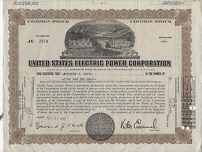United States Electric Power Corporation, Maryland Common Stock Certificate 1935