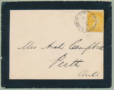 1894 Mourning Cover, Carleton Place Ont to Perth, Enclosure, Robert Bell