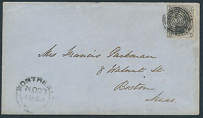 1854 #2 6d Prince Albert on Montreal to Boston Cover