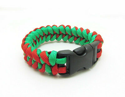 New Paracord Parachute Rope Bracelet Wristband Survival Hiking Green+Red
